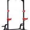 TEKKNOFIT - Half rack squat rack con barra di trazione porta dischi e porta bilanciere olimpionico