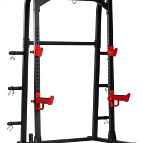 TEKKNOFIT - Half rack squat rack doppio con barra di trazione porta dischi e porta bilanciere olimpionico
